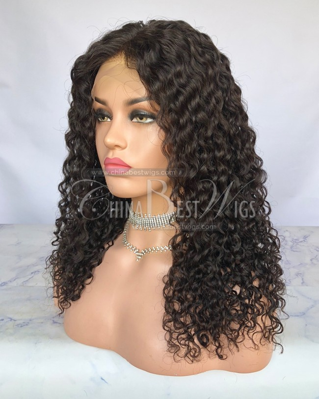 HWS-242 curly Indian Virgin Hair 18 inch 130% Density Glueless Lace Front Wigs