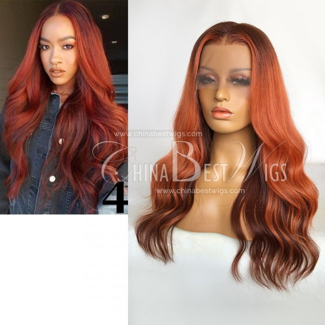 N185 18 Inch  Ombre Color Wavy 180% Denstiy T Frontal Wig