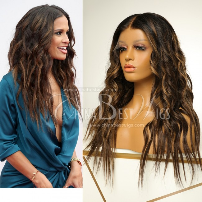 N63 China Best Wigs Ombre wavy Center parting 18 inch lace front wig