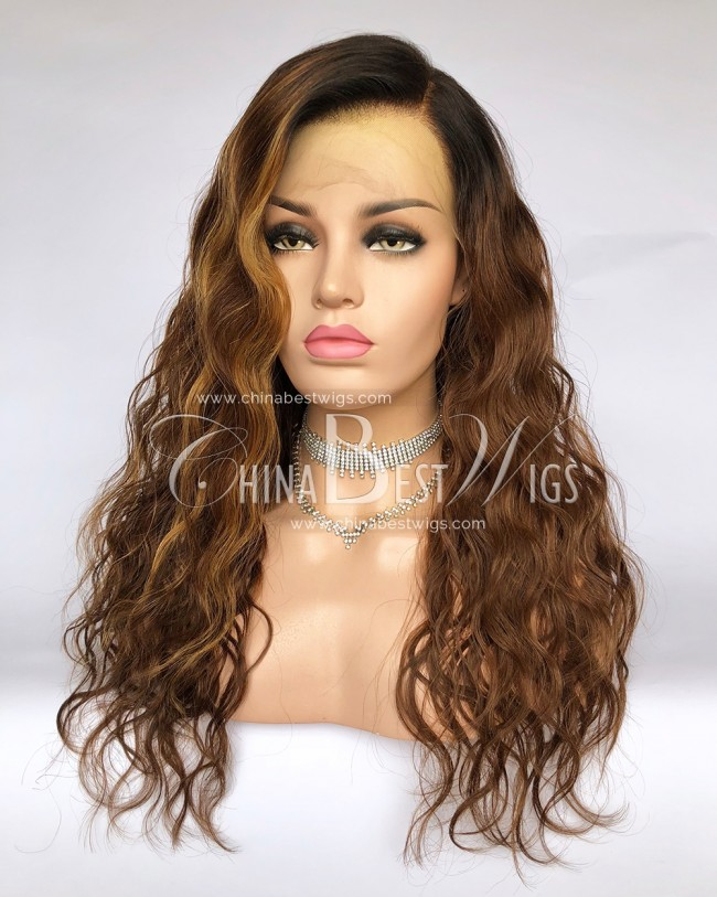 HWS-286 Brazilian Virgin Hair 20 Inch Ombre color Natural Wave Glueless Lace Front Wigs
