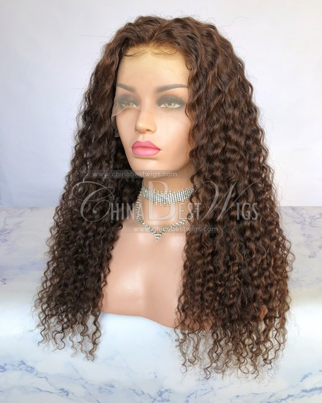 HWS-275 20 Inch color 4 Virgin Human Hair Natural Hairline Glueless Lace Front Wigs