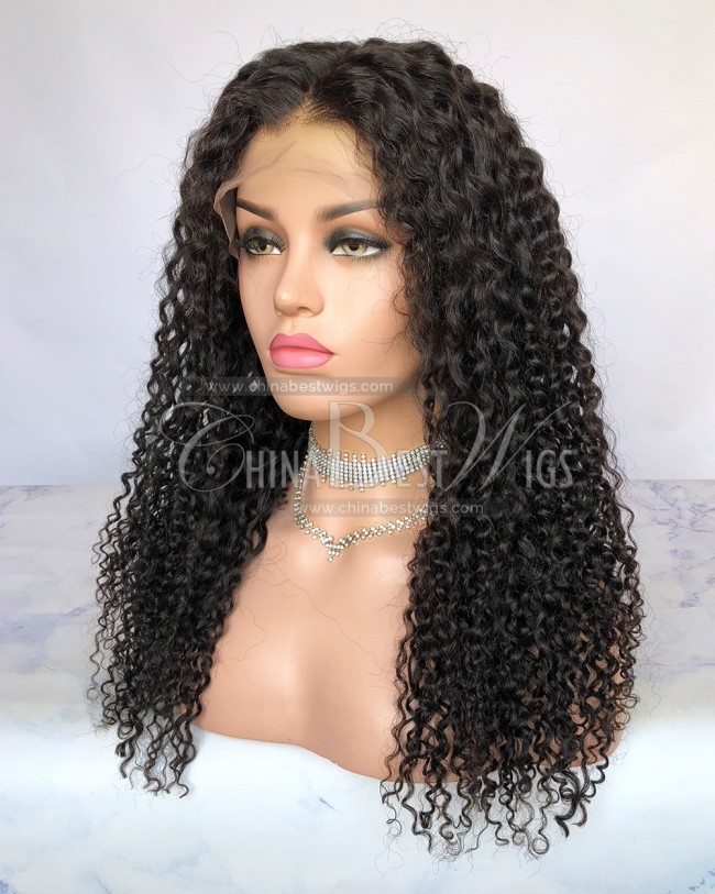 HWS-254  Jerry Curly Virgin Human Hair Natural Color 20'' 180% Density Wigs