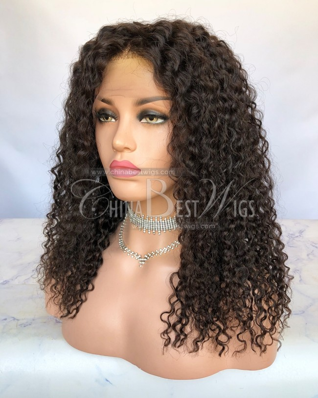 HWS-248  20 inch  Indian Virgin Hair 14mm Curl Lace Front Wigs