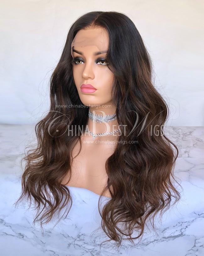 HWS-203 Indian Virgin Hair  20'' Ombre Wavy Glueless Wigs Wholesaler
