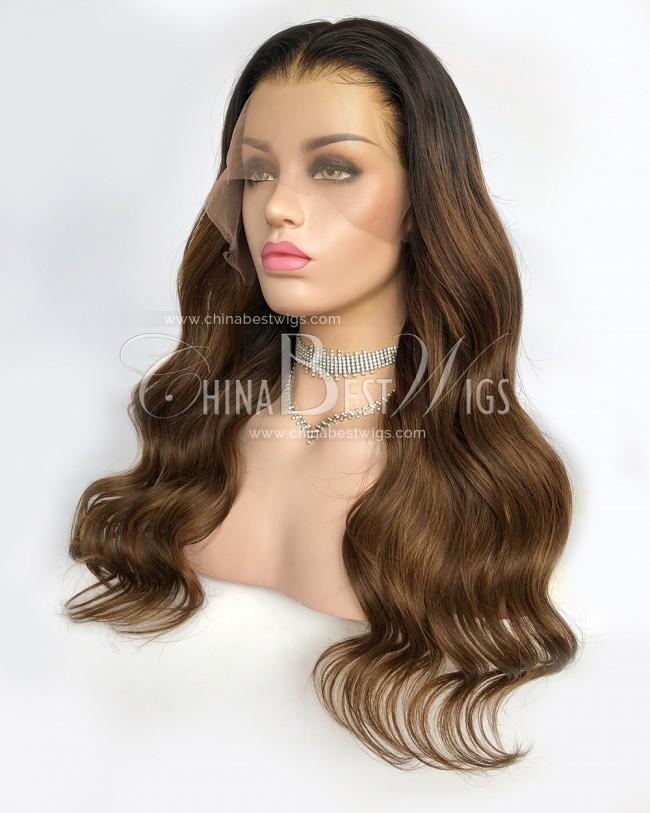 N145 ombre Wavy 22 inch Virgin Brazilian Hair Lace Front Wigs