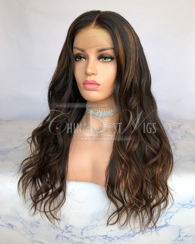 HWS-232  Wavy Highlight Color 20 Inch Virgin Hair Glueless Lace Front Wigs