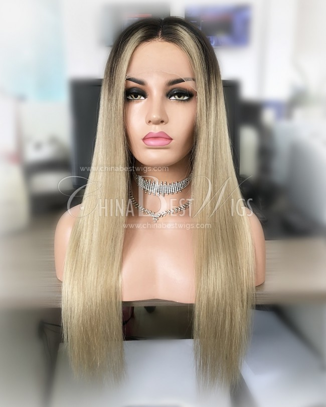 N99 Brazilian Virgin Hair Ombre Blonde Straight Lace Front Wigs Manufacturer