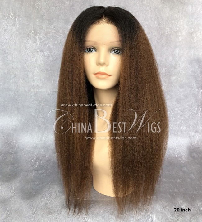 HWS-139 Brazilian virgin Hair Kinky Straight Full Lace Wigs wholesale Price