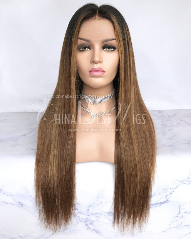 HWS-209  Straight Brazilian Virgin Hair Bleached Knots Glueless Lace Front Wigs