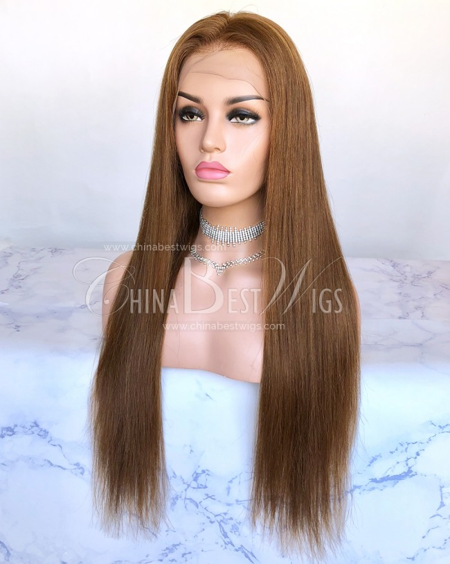HWS-245 Color 30 Brazilian Virgin Hair 130% Desnity 22 Inch Lace Front Wigs