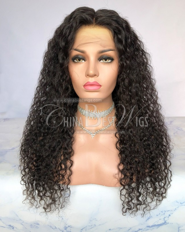 HWS-276  22 Inch Curled Glueless Lace Front Wigs 130% Density Brazilian Hair Wigs
