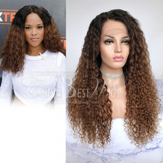 HWS-206  Virgin Brazilian Hair Ombre Curly 22 inch Lace Front Wig