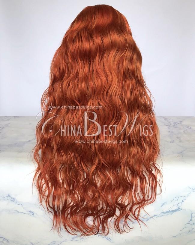 S10  22 Inch 150% Density Brazilian Virgin Hair Ginger Orange Color Lace Front Wigs