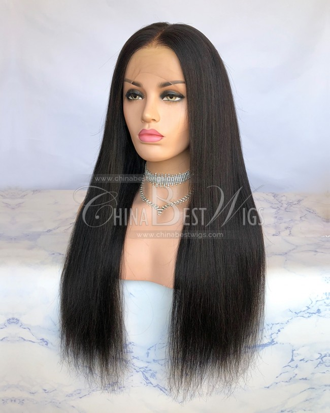 HWS-227 Yaki Straight 180% Density Bleached Knots Lace Front Wig