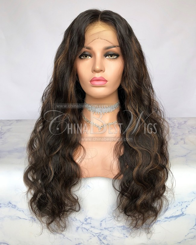HWS-255 Brazilian Virgin Hair color 30# Highlight Lace Front Wigs