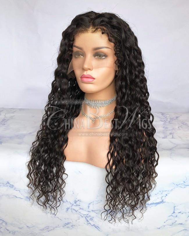 HWS-226  28mm Curly 24 Inch 150% Density Virgin Hair Glueelss Full Lace Wigs