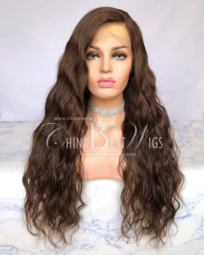 HWS-285  color #4  Natural Wavy 180% Density Human Hair Lace Front Wigs