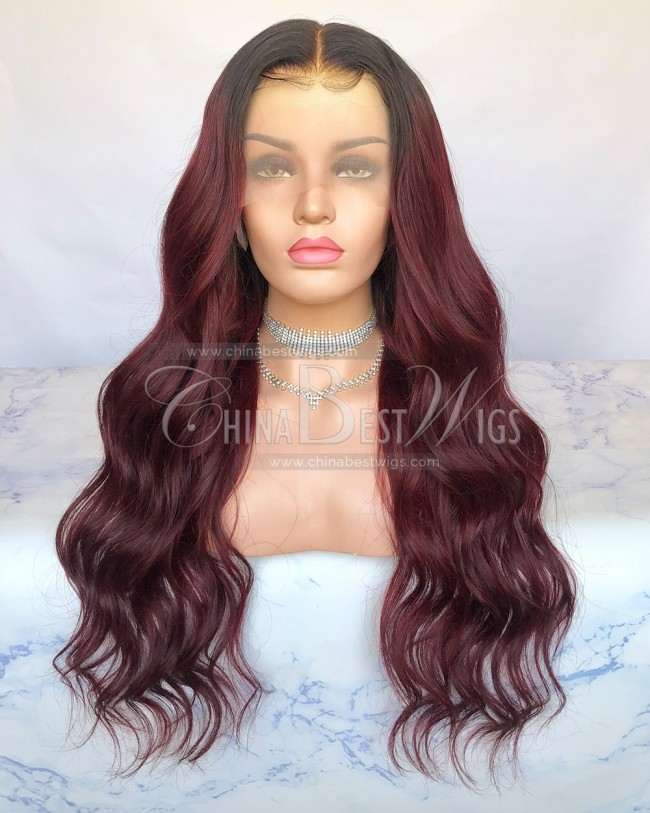 HWS-269 Virgin Human Hair Ombre Burgundy Color 24 Inch Glueless Lace Front Wigs