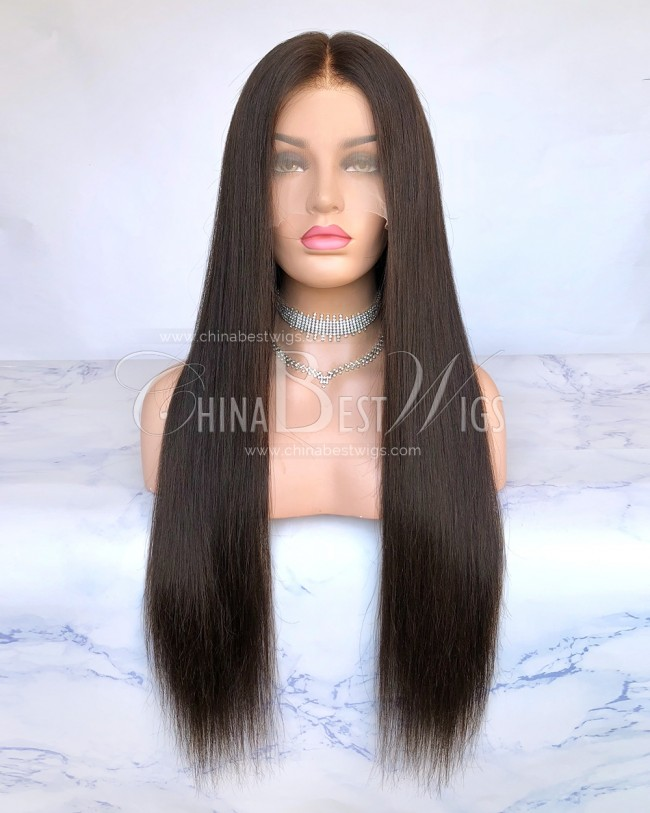 HWS-213  Silky Straight 150% Density 26'' Brazilian Virgin Hair Glueless Lace Front Wigs