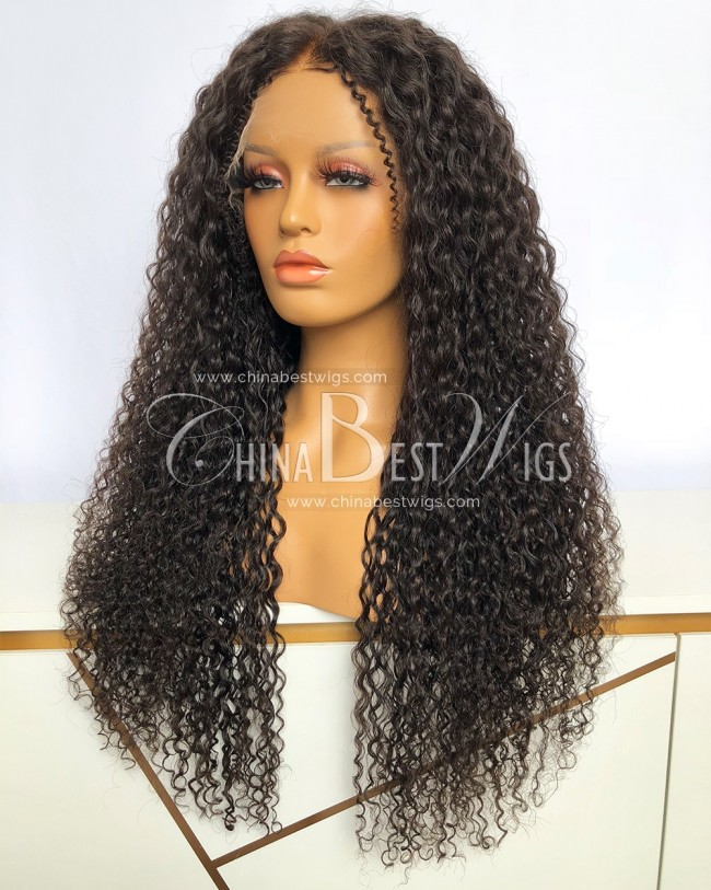 HWS-356  26 Inch Indian Virgin Hair Natural Color Curly Glueless Lace Front Wigs