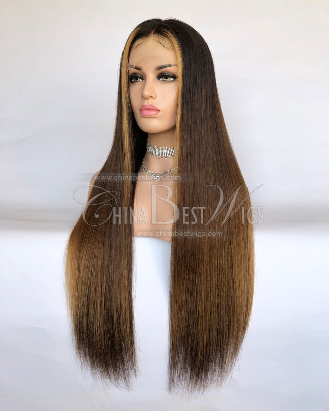 HWS-239 Ombre Straight 26 inch  Brazilian Lace Front Wigs