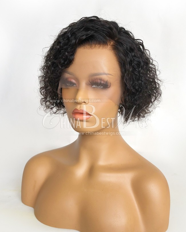 N180 Short Curly 8 Inch Bleached Knots Natural Hairline Lace Front Wigs