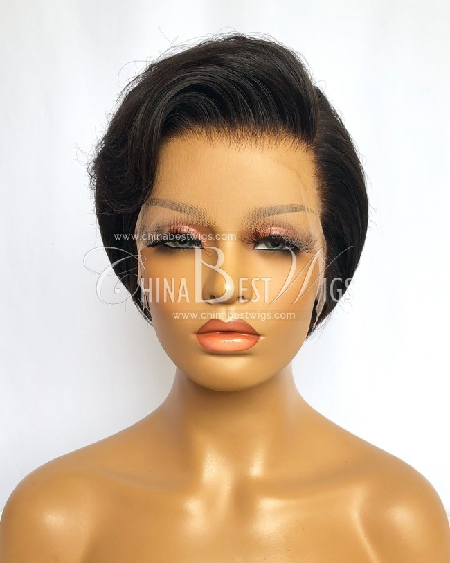 N216 8 Inch 150% Density Natural Color Short Cut Indian Virgin Hair Lace Front Wigs