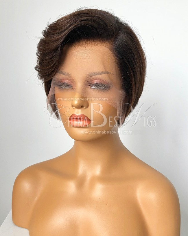 HWS-332  Short Cut 8 Inch Ombre Color Indian Hair Glueless Lace Front Wigs