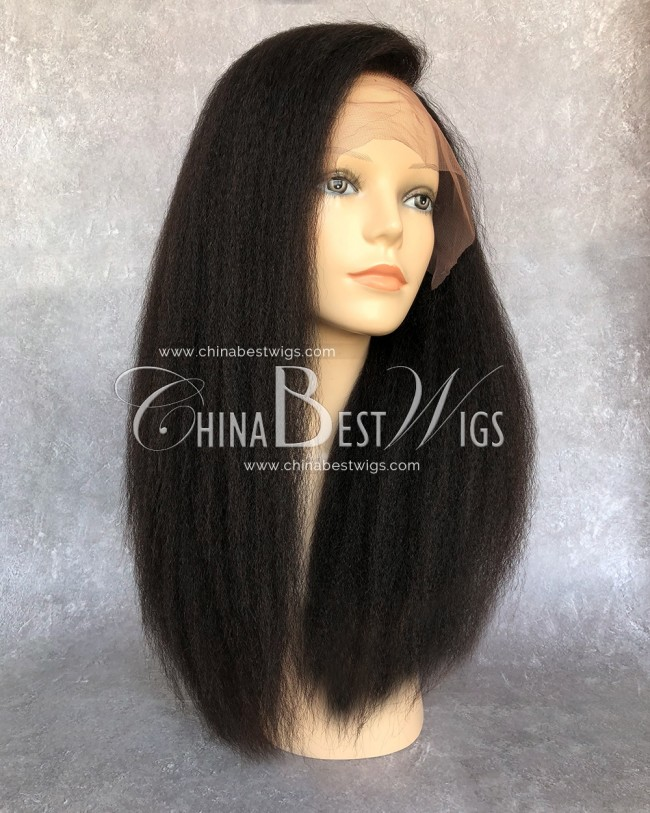 HWS-141 Kinky Straight 150% density Natural Hairline virgin hair lace front wigs wholesaler