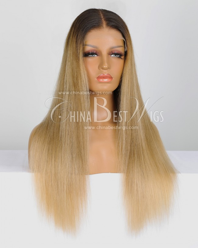 SP93 20 Inch Straight Brazilian Virgin Hair 150% Density Ombre Blonde Lace Front Wigs
