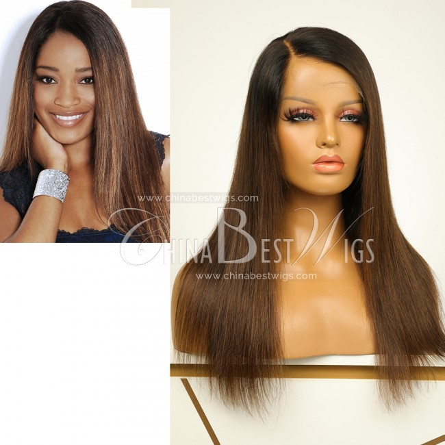 N62  Ombre Lace Front Wigs Straight Natural hairline Brazilian virgin hair