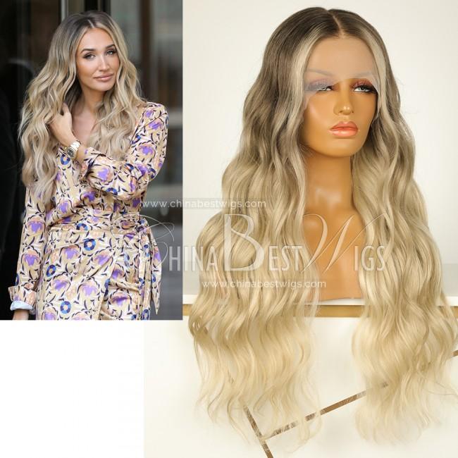 N99-2 24 Inch Brazilian Virgin Hair Blonde Color Wavy Lace Front Wigs