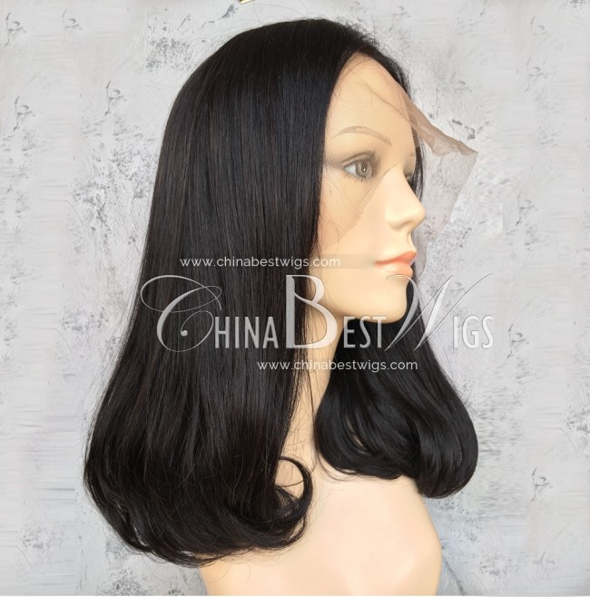 N79-1 Bottom Way Hair Style Natural Color Indian Hair Wigs